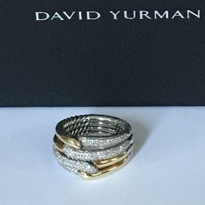 David Yurman Double Loop Diamond Labyrinth Ring- 7